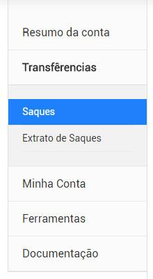 Menu: Transferencia - saques